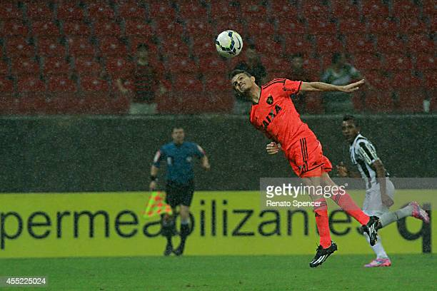 Rene of Sport Recife header during the Brasileirao Series A 2014 match between Sport Recife and Santos at Arena Pernambuco on September 10 2014 in...