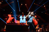 Rene Perez Joglar aka Residente of Calle 13 performs on stage at Barclaycard Center on July 2 2015 in Madrid Spain