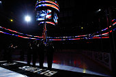 Rene Rancourt sings the national anthem prior to the game between the Detroit Red Wings and the Boston Bruins in Game One of the First Round of the...