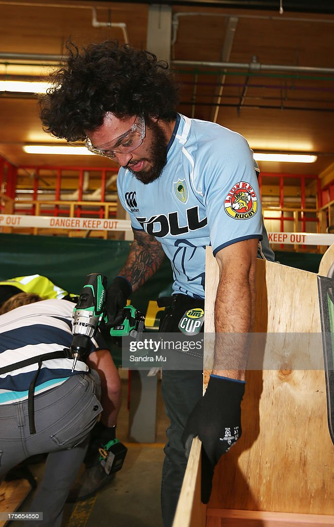 Rene Ranger of Northland builds a fan seat during the 2013 launch of the ITM Cup at Unitec on August 6, 2013 in Auckland, New Zealand.
