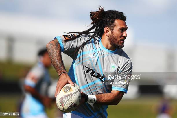 Rene Ranger of Northland warms up ahead of the round one Mite 10 Cup match between Northland and Bay of Plenty at Toll Stadium on August 20 2017 in...