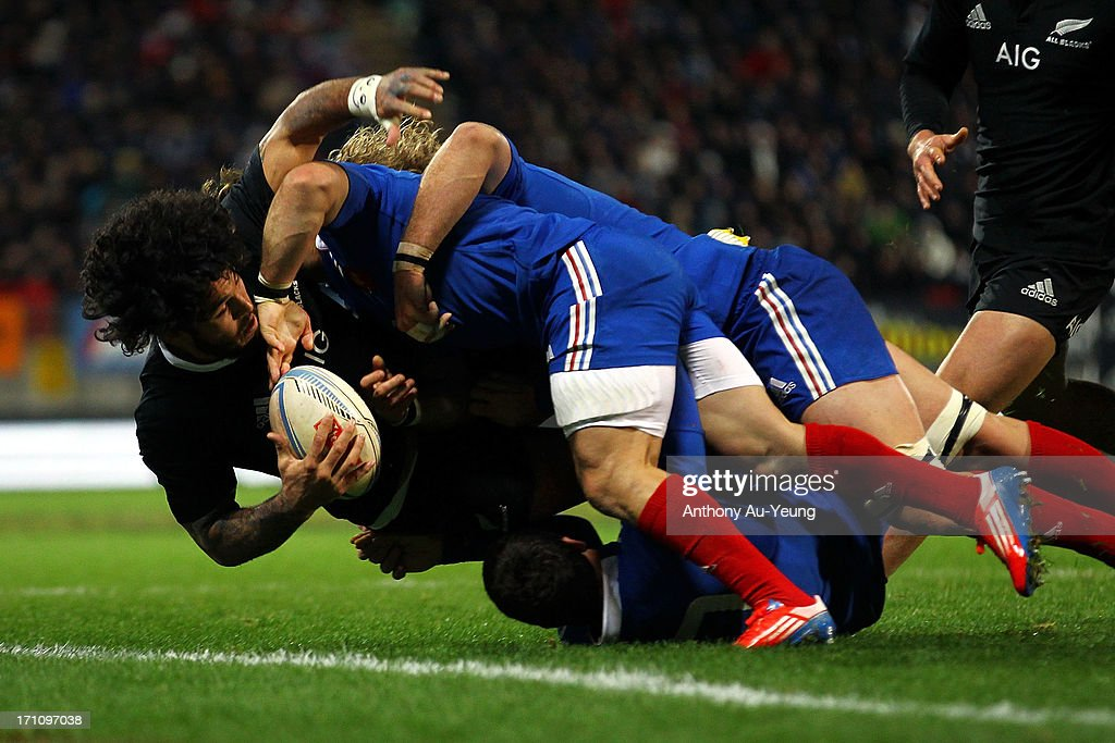 Rene Ranger of the All Blacks is taken out to touch during the Third Test Match between the New Zealand All Blacks and France at Yarrow Stadium on June 22, 2013 in New Plymouth, New Zealand.