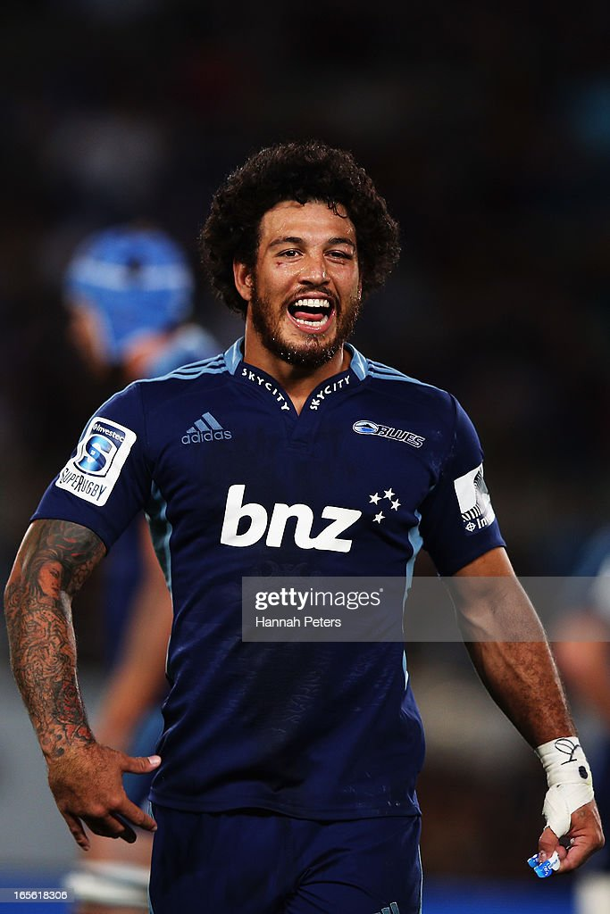 Rene Ranger of the Blues celebrates winning the round eight Super Rugby match between the Blues and the Highlanders at Eden Park on April 5, 2013 in Auckland, New Zealand.