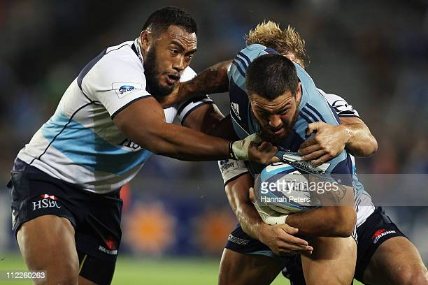 Rene Ranger of the Blues charges forward during the round nine Super Rugby match between the Blues and the Waratahs at Eden Park on April 16 2011 in...