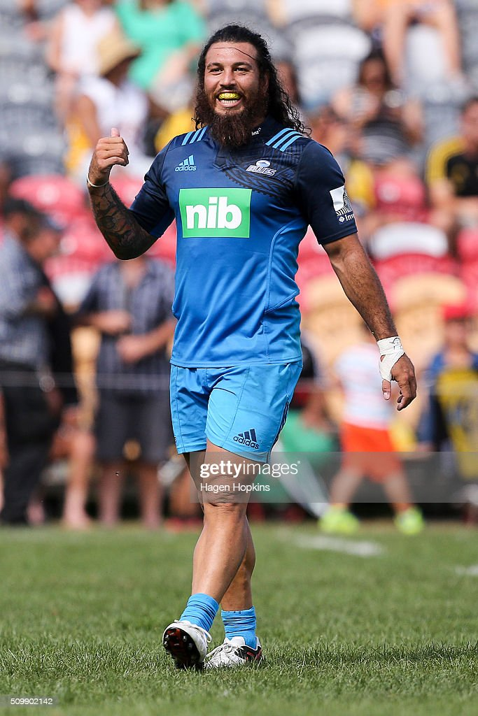 <a gi-track='captionPersonalityLinkClicked' href=/galleries/search?phrase=Rene+Ranger&family=editorial&specificpeople=1175061 ng-click='$event.stopPropagation()'>Rene Ranger</a> of the Blues looks on during the Super Rugby pre-season match between the Blues and the Hurricanes at Eketahuna Rugby Club on February 13, 2016 in Eketahuna, New Zealand.