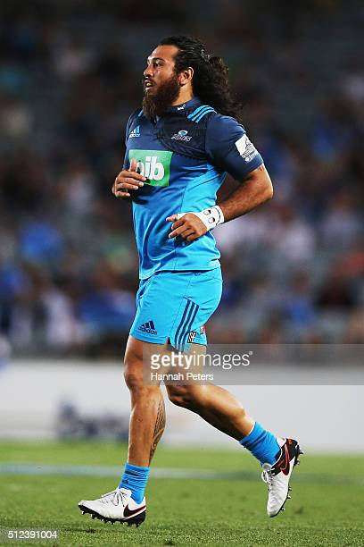Rene Ranger of the Blues runs on off the bench during the round one Super Rugby match between the Blues and the Highlanders at Eden Park on February...