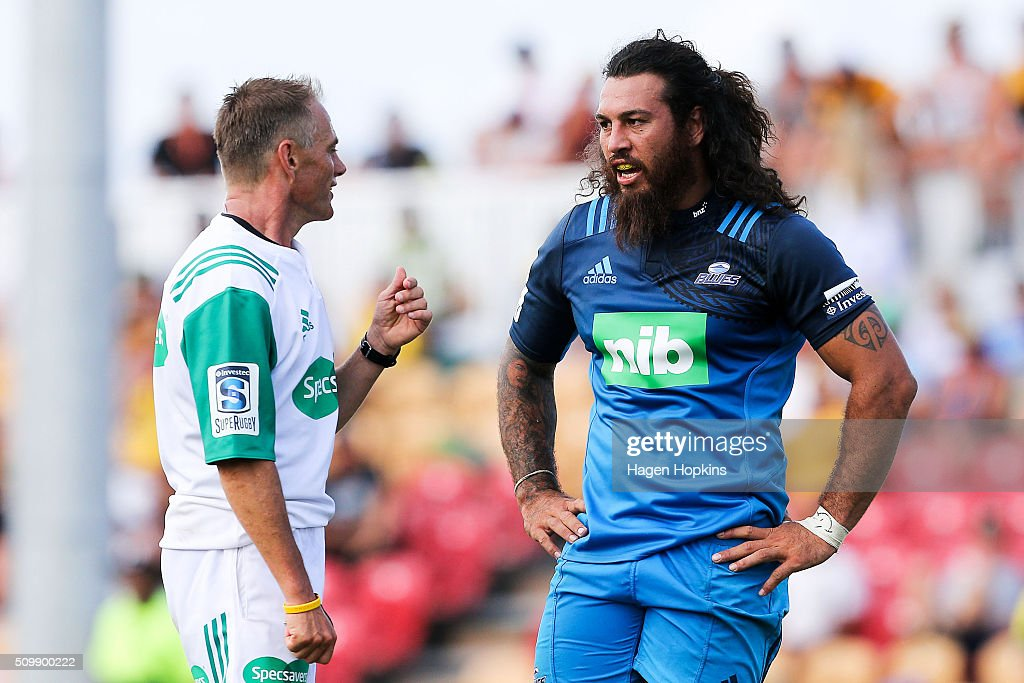 <a gi-track='captionPersonalityLinkClicked' href=/galleries/search?phrase=Rene+Ranger&family=editorial&specificpeople=1175061 ng-click='$event.stopPropagation()'>Rene Ranger</a> of the Blues talks to referee Chris Pollock during the Super Rugby pre-season match between the Blues and the Hurricanes at Eketahuna Rugby Club on February 13, 2016 in Eketahuna, New Zealand.
