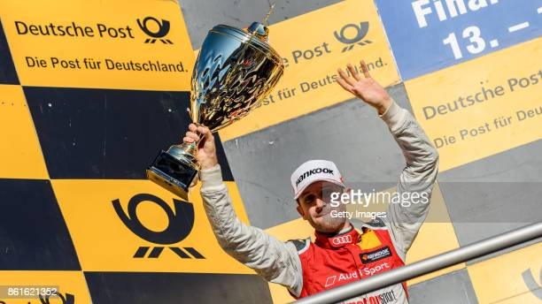 Rene Rast of Audi celebrates the second place and winning the championship during the DTM 2017 German Touring Car Championship at Hockenheimring on...