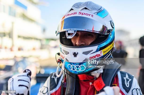 Rene Rast of Audi celebrates winning the championship during the DTM 2017 German Touring Car Championship at Hockenheimring on October 15 2017 in...