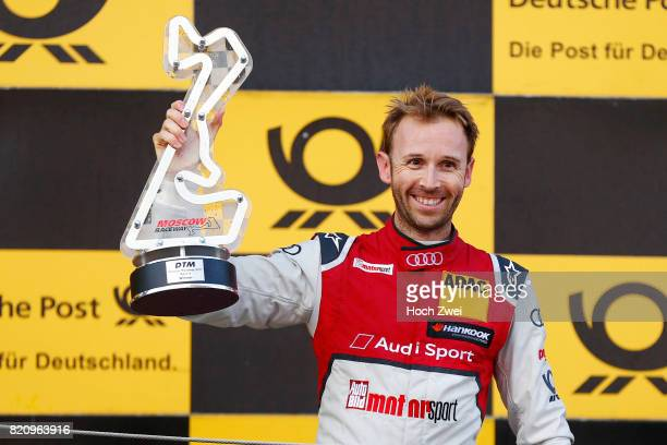 Rene Rast of Germany and Audi Sport Team Rosberg holds his trophy during the DTM German Touring Car Masters 2017 at Moskow Raceway on July 22 2017 in...