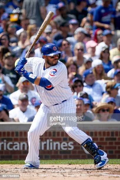Rene Rivera of the Chicago Cubs bats in the third inning against the Toronto Blue Jays at Wrigley Field on August 20 2017 in Chicago Illinois