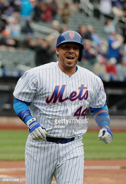 Rene Rivera of the New York Mets celebrates a second inning two run home run against the Atlanta Braves during their game at Citi Field on May 4 2016...