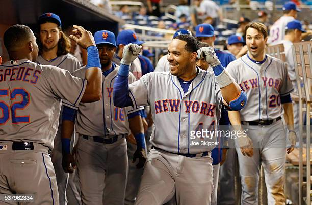 Rene Rivera of the New York Mets celebrates with teammates after his ninth inning tworun home run against the Miami Marlins at Marlins Park on June 3...