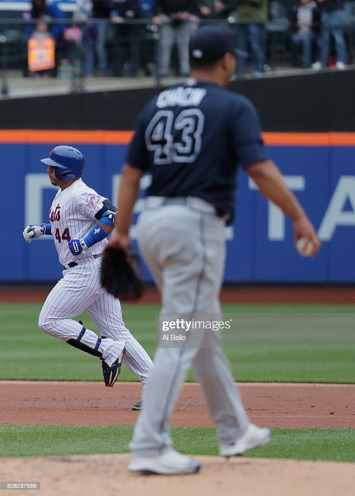 <a gi-track='captionPersonalityLinkClicked' href=/galleries/search?phrase=Rene+Rivera&family=editorial&specificpeople=234850 ng-click='$event.stopPropagation()'>Rene Rivera</a> #44 of the New York Mets rounds the bases after hitting a second inning two run home run against the Jhoulys Chacin #43 of the Atlanta Braves during their game at Citi Field on May 4, 2016 in New York City.