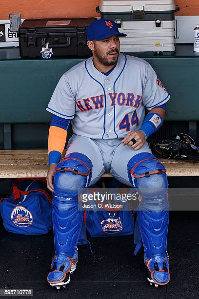 Rene Rivera of the New York Mets sits in the dugout before the game against the San Francisco Giants at ATT Park on August 21 2016 in San Francisco...