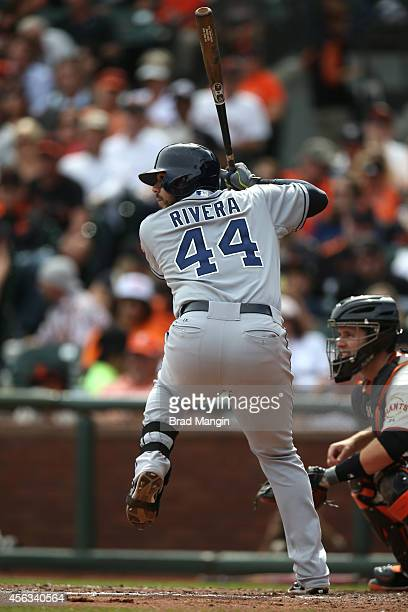 Rene Rivera of the San Diego Padres bats against the San Francisco Giants during the game at ATT Park on Sunday September 28 2014 in San Francisco...