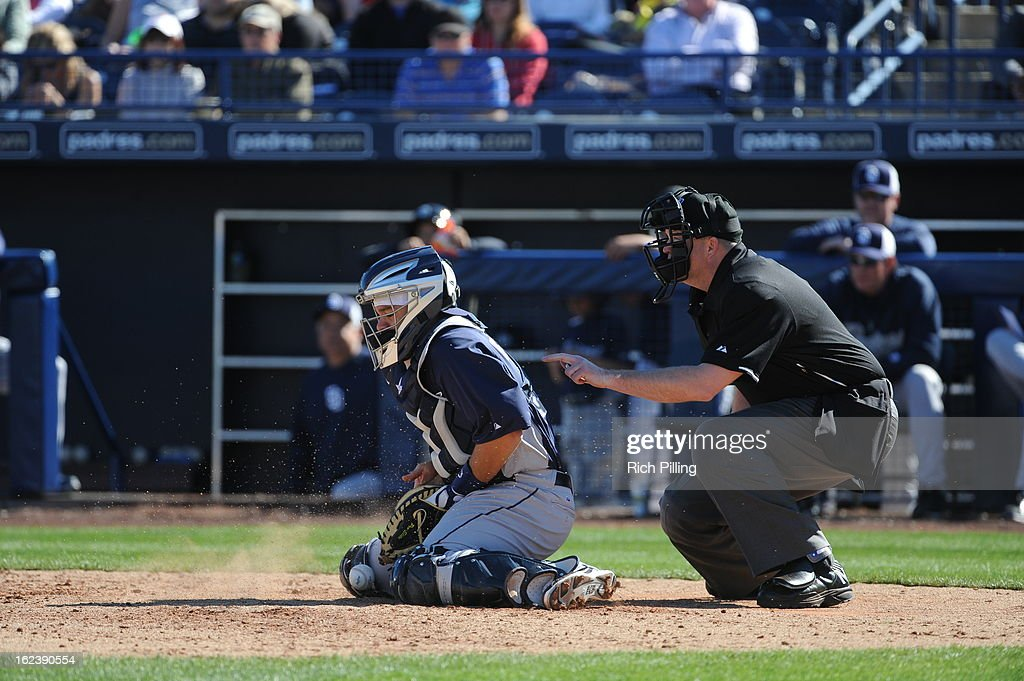 <a gi-track='captionPersonalityLinkClicked' href=/galleries/search?phrase=Rene+Rivera&family=editorial&specificpeople=234850 ng-click='$event.stopPropagation()'>Rene Rivera</a> #44 of the San Diego Padres pitches during the game against the Seattle Mariners on Friday, February 22, 2013 at the Peoria Sports Complex in Peoria, Arizona. The Padres defeated the Mariners 9-3.