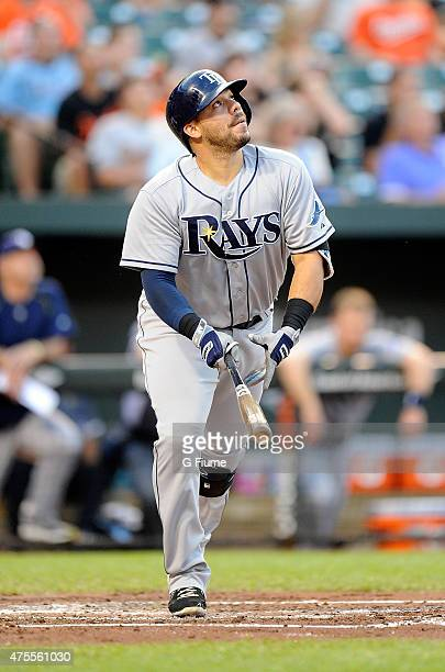Rene Rivera of the Tampa Bay Rays bats against the Baltimore Orioles at Oriole Park at Camden Yards on May 29 2015 in Baltimore Maryland