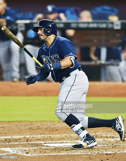 Rene Rivera of the Tampa Bay Rays bats during a MLB game against the Miami Marlins at Marlins Park on April 12 2015 in Miami Florida