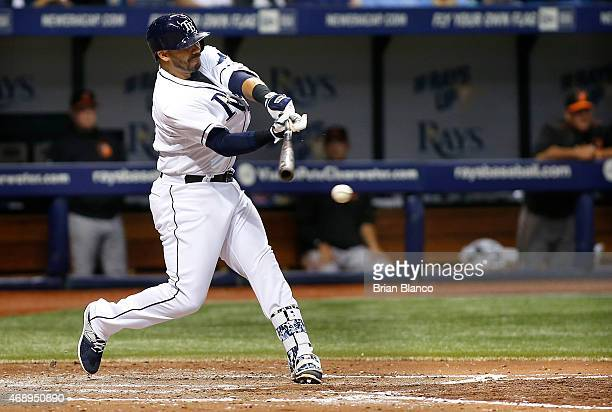 Rene Rivera of the Tampa Bay Rays grounds into the double play during the fifth inning of a game against the Baltimore Orioles on April 8 2015 at...