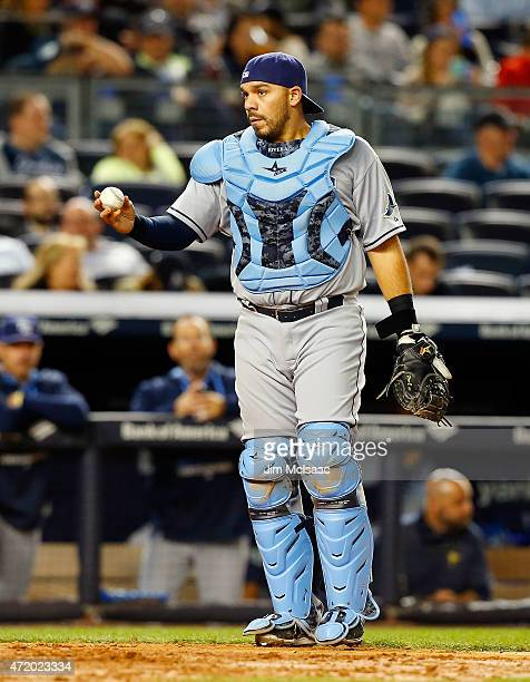 Rene Rivera of the Tampa Bay Rays in action against the New York Yankees at Yankee Stadium on April 28 2015 in the Bronx borough of New York City The...