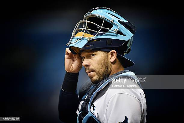 Rene Rivera of the Tampa Bay Rays looks on during a MLB game against the Kansas City Royals on August 28 2015 at Tropicana Field in St Petersburg...