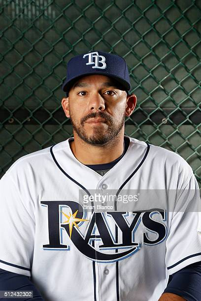 Rene Rivera of the Tampa Bay Rays poses for a photo during the Rays' photo day on February 25 2016 at Charlotte Sports Park in Port Charlotte Florida