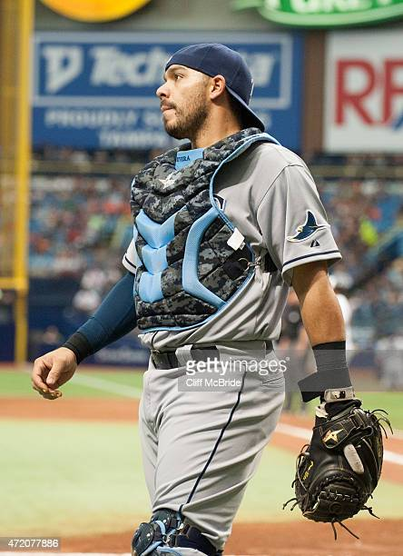 Rene Rivera of the Tampa Bay Rays reacts to the Rays giving up three runs in the seventh inning against the Baltimore Orioles on May 3 2015 at...