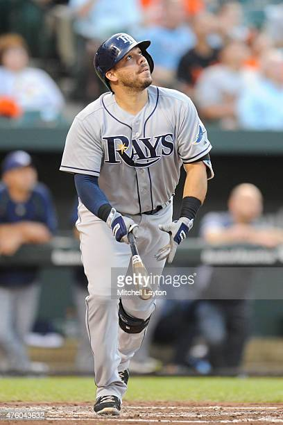 Rene Rivera of the Tampa Bay Rays takes a swing during a baseball game against the Baltimore Orioles at Oriole Park at Camden Yards on May 29 2015 in...