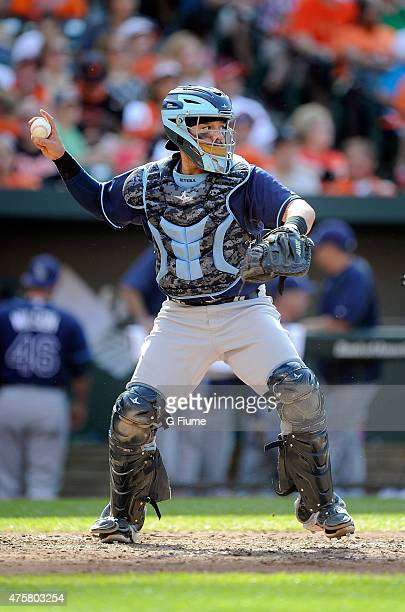 Rene Rivera of the Tampa Bay Rays throws the ball to second base against the Baltimore Orioles at Oriole Park at Camden Yards on May 30 2015 in...