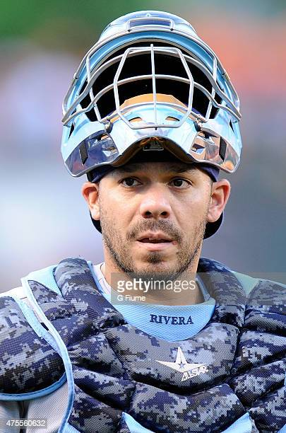 Rene Rivera of the Tampa Bay Rays walks in from the bullpen before the game against the Baltimore Orioles at Oriole Park at Camden Yards on May 29...