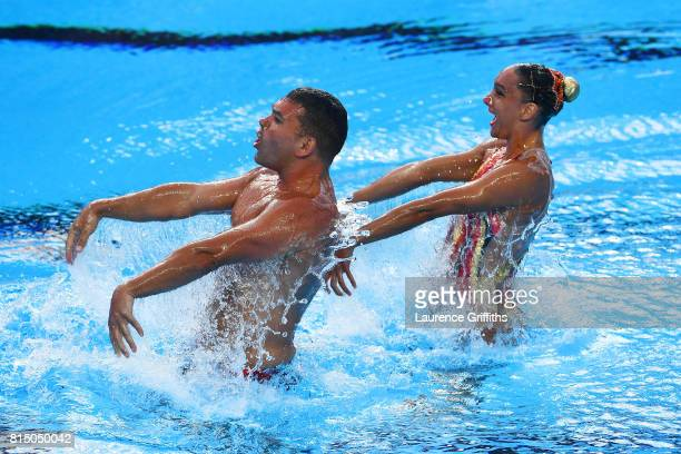 Rene Robert Prevost of Canada and Isabelle Rampling of Canada competes during the Mixed Duet Synchro Technical Preliminary Round on day two of the...