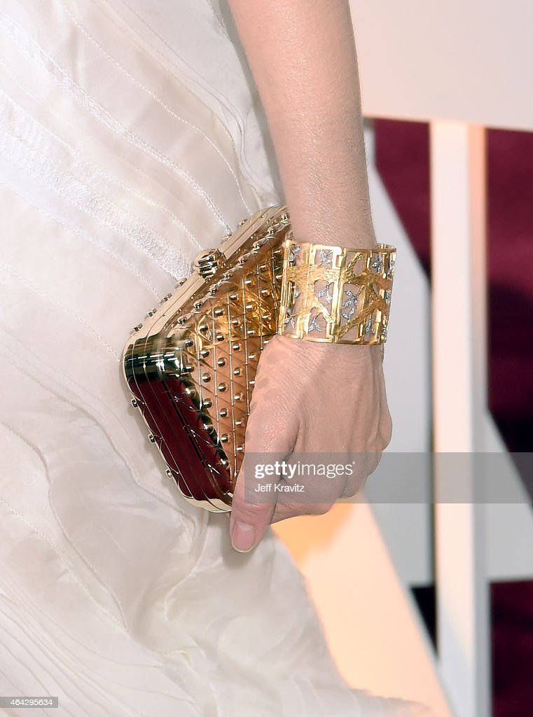 Rene Russo clutch detail and bracelet detail attend the 87th Annual Academy Awards at Hollywood Highland Center on February 22 2015 in Hollywood...