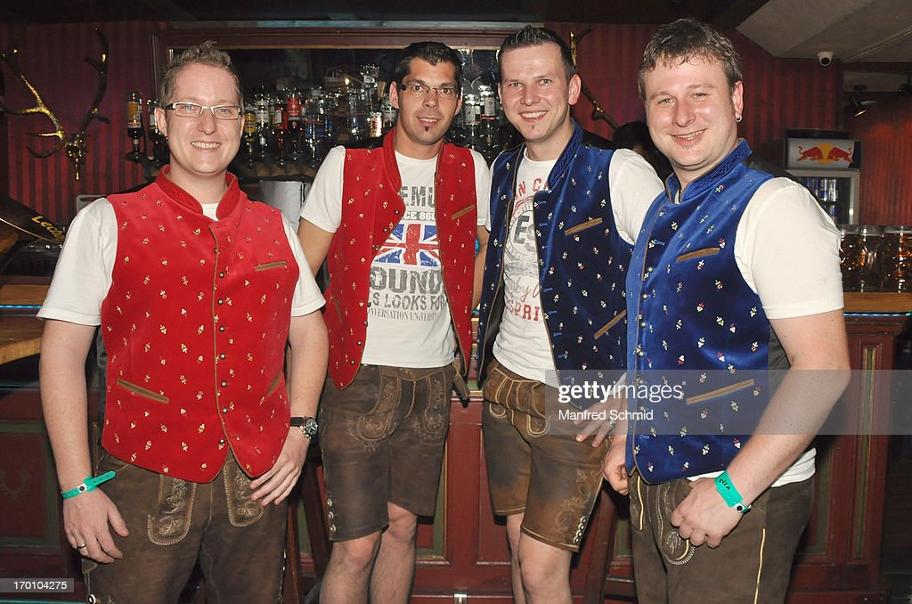 Rene Schaffhauser, Mario Steinbichler, Stefan Hoesl and Martin Kendler of Dirndlrocker pose backstage during the beauty competition 'Miss Wiener Wiesn-Fest 2013' at Bettel-Alm on June 6, 2013 in Vienna, Austria.