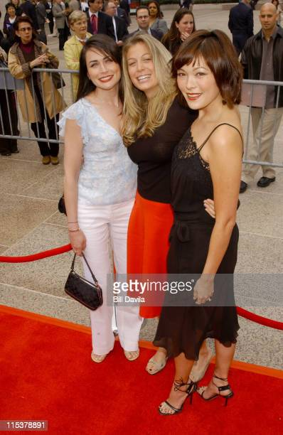 Rene Sofer with Sonya Walger and Lindsay Price during NBC 20032004 Upfront Arrivals at The Metropolitan Opera House in New York City New York United...