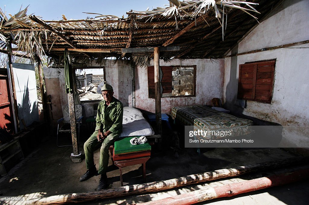 Rene Tejera Marino 74yearsold rests in what is left of his house after Hurricane Ike tore through a week earlier September 15 2008 in the Playa...