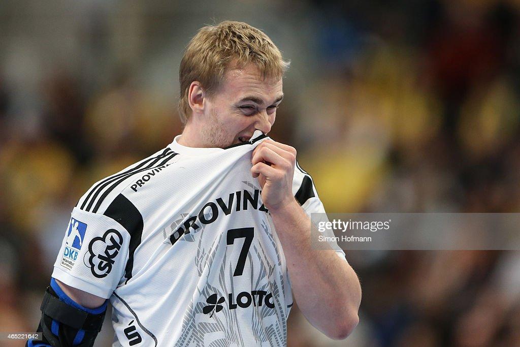 Rene Toft Hansen of Kiel reacts during the DHB cup quarter final match between Rhein-Neckar Loewen and THW Kiel at SAP Arena on March 4, 2015 in Mannheim, Germany.