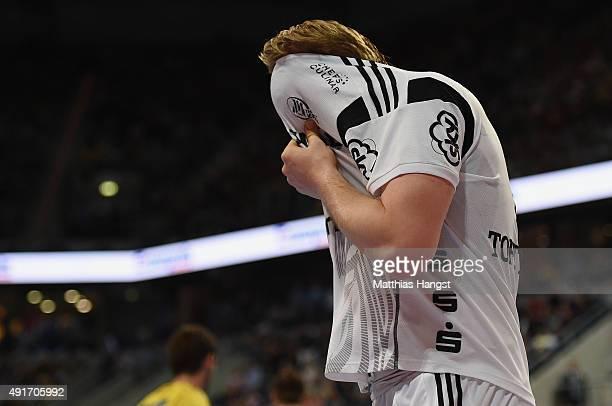 Rene Toft Hansen of Kiel reacts during the DKB HBL Bundesliga match between Rhein Neckar Loewen and THW Kiel at SAP Arena on October 7 2015 in...