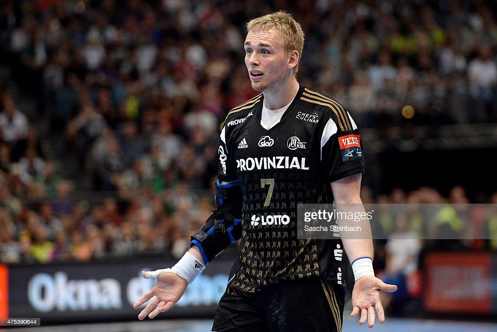 Rene Toft Hansen of Kiel reacts during the 'VELUX EHF FINAL4' semi final match between THW Kiel and KS Vive Tauron Kielce at Lanxess Arena on May 31, 2015 in Cologne, Germany.
