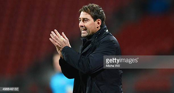 Rene Weiler head coach of Nuernberg reacts during the Second Bundesliga match between 1 FC Nuernberg and Eintracht Braunschweig at GrundigStadion on...