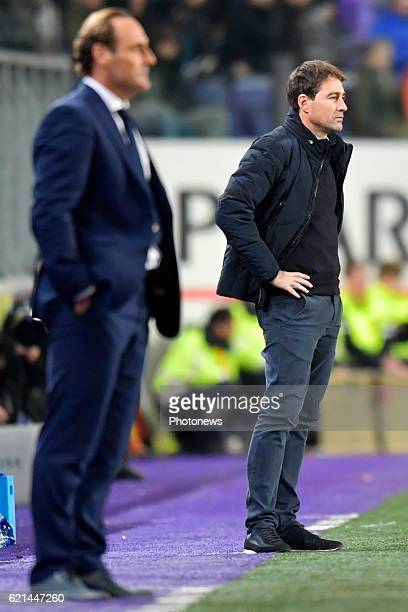 Rene Weiler head coach of RSC Anderlecht and Yves Vanderhaeghe Head Coach of KV Oostende look on during the Jupiler Pro League match between RSC...