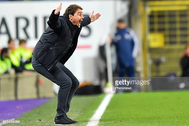 Rene Weiler head coach of RSC Anderlecht gestures during the Jupiler Pro League match between RSC Anderlecht and KV Oostende at the Constant Vanden...