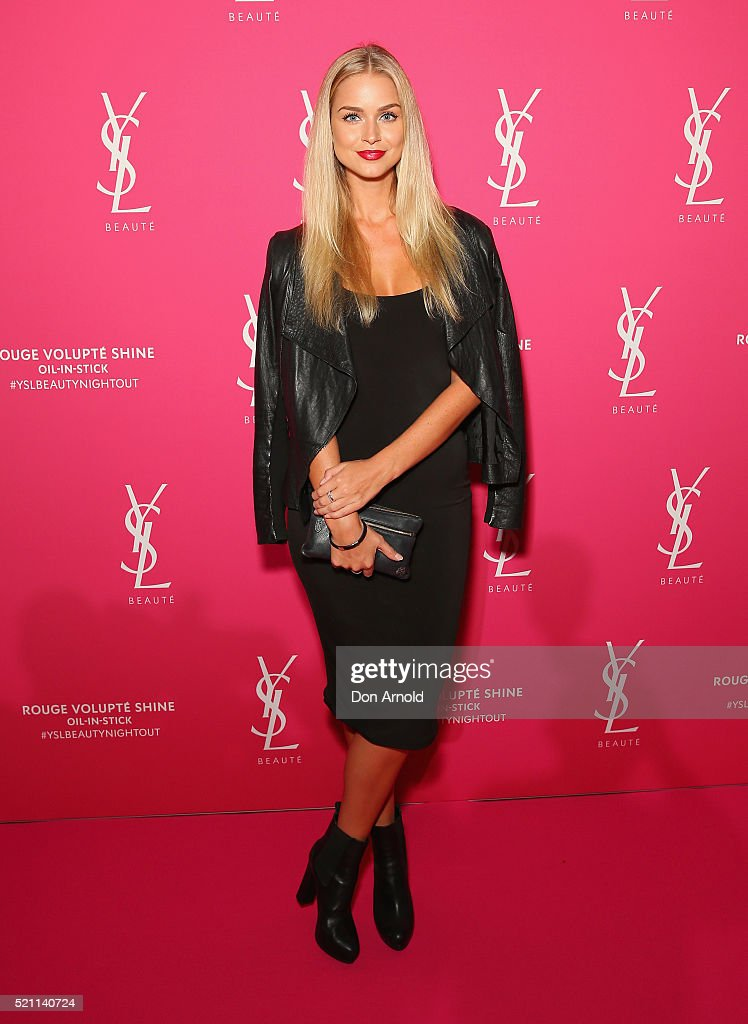 Renee Ayris arrives ahead of a YSL beauty launch at Sydney Town Hall on April 14, 2016 in Sydney, Australia.