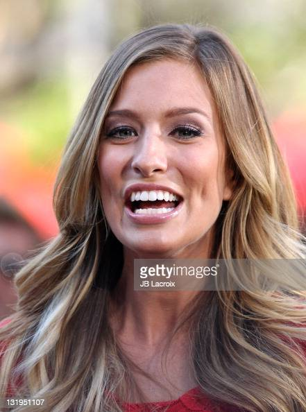 Renee Bargh is seen on the set of Extra at The Grove on November 8 2011 in Los Angeles California