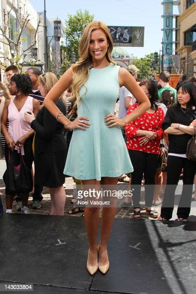 Renee Bargh visit 'Extra' at The Grove on April 17 2012 in Los Angeles California