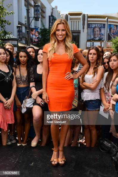 Renee Bargh visits 'Extra' at The Grove on August 15 2012 in Los Angeles California