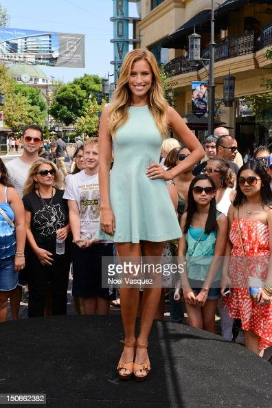 Renee Bargh visits 'Extra' at The Grove on August 23 2012 in Los Angeles California