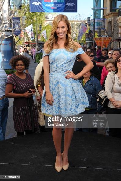 Renee Bargh visits Extra at The Grove on February 25 2013 in Los Angeles California
