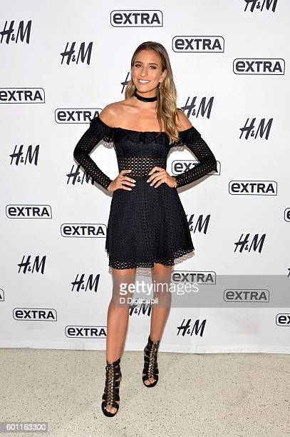 Renee Bargh visits 'Extra' at their New York studios at HM in Times Square on September 9 2016 in New York City