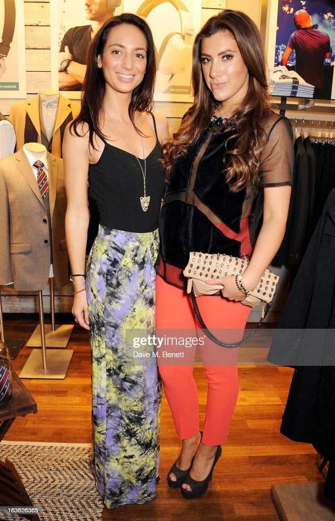 Renee Catania (L) and Gabriella Ellis attend the Panasonic Technics 'Shop To The Beat' Party hosted by George Lamb at French Connection, Oxford Circus, on March 13, 2013 in London, England.